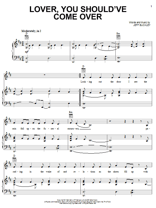 Jamie Cullum Lover, You Should've Come Over sheet music notes and chords. Download Printable PDF.