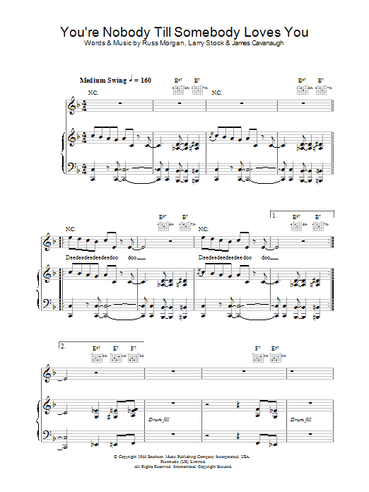 Jamie Cullum You're Nobody Till Somebody Loves You sheet music notes and chords. Download Printable PDF.