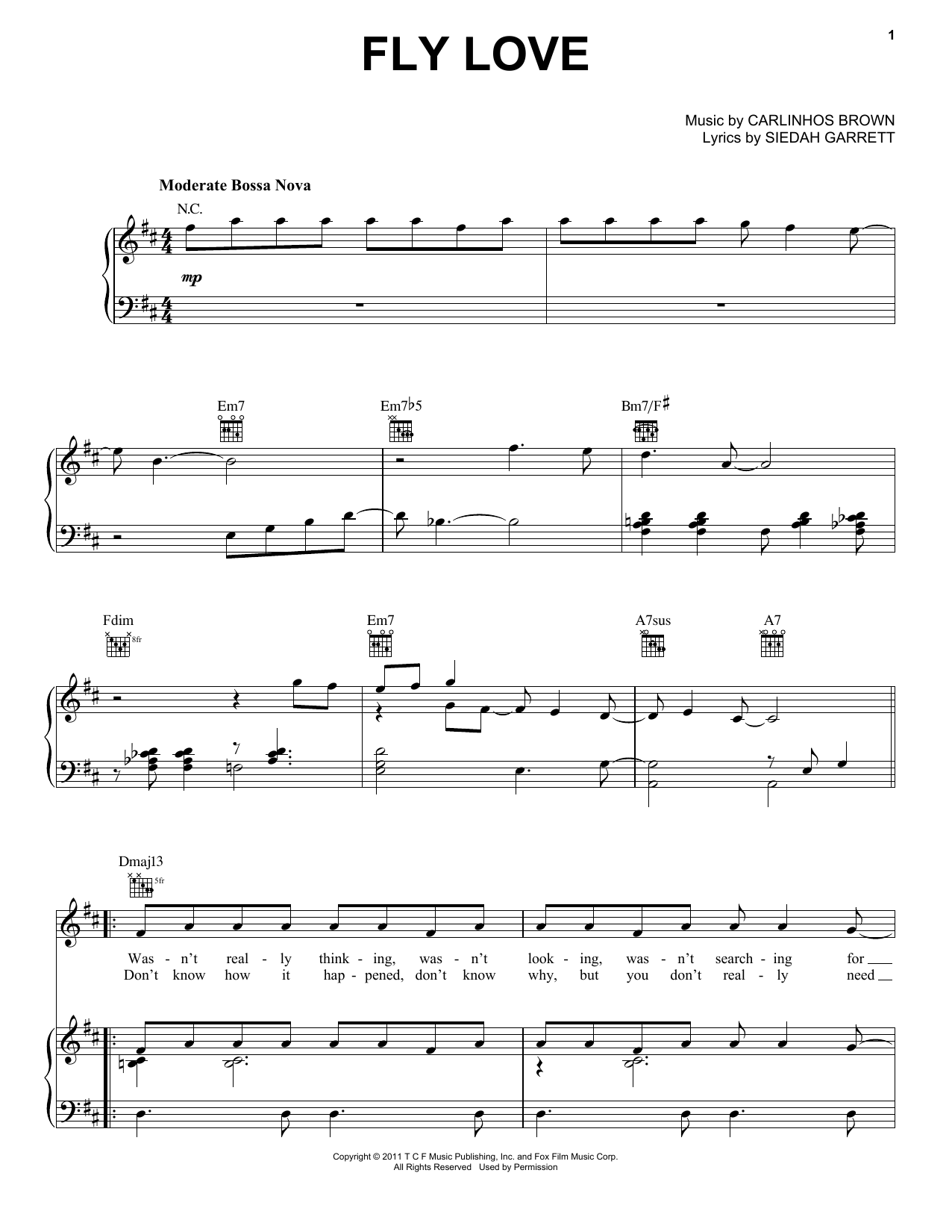 Jamie Foxx Fly Love sheet music notes and chords. Download Printable PDF.