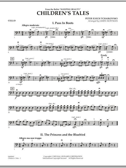 Jamin Hoffman Children's Tales (from Sleeping Beauty) - Cello sheet music notes and chords. Download Printable PDF.
