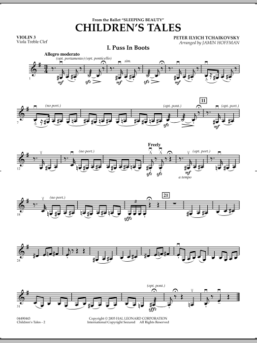 Jamin Hoffman Children's Tales (from Sleeping Beauty) - Violin 3 (Viola Treble Clef) sheet music notes and chords. Download Printable PDF.