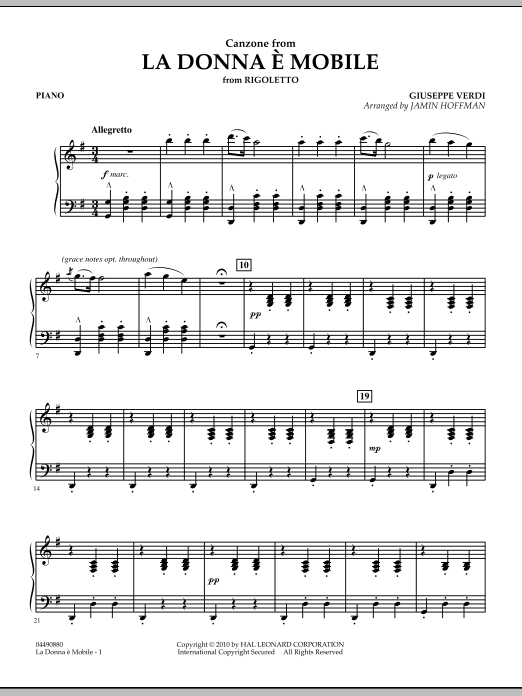 Jamin Hoffman La Donna e Mobile (from Rigoletto) - Piano sheet music notes and chords. Download Printable PDF.