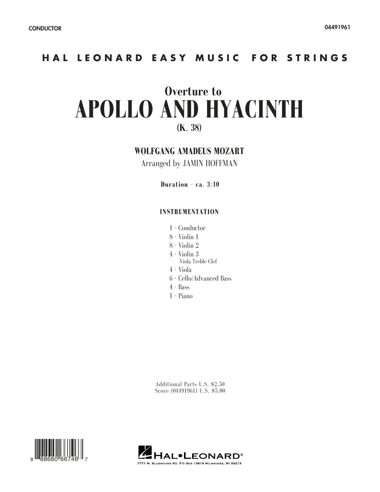 Jamin Hoffman Overture from Apollo and Hyacinth - Conductor Score (Full Score) sheet music notes and chords. Download Printable PDF.