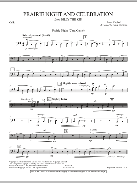 Jamin Hoffman Prairie Night And Celebration (from Billy The Kid) - Cello sheet music notes and chords. Download Printable PDF.