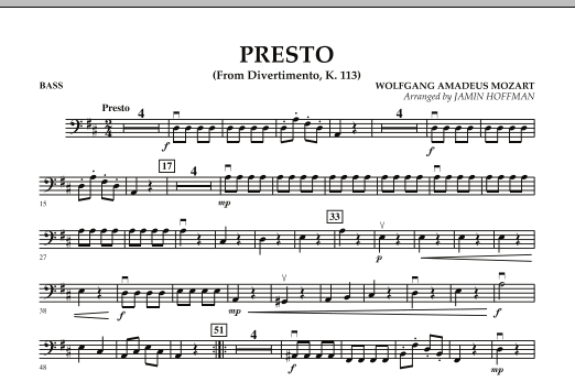Jamin Hoffman Presto (from Divertimento, K.113) - String Bass sheet music notes and chords