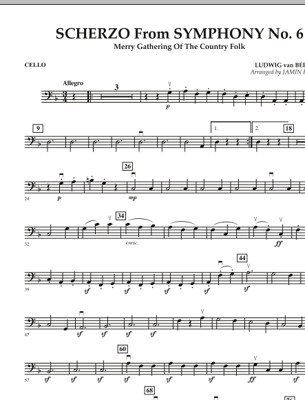 Jamin Hoffman Scherzo (from Symphony No. 6) - Cello sheet music notes and chords. Download Printable PDF.