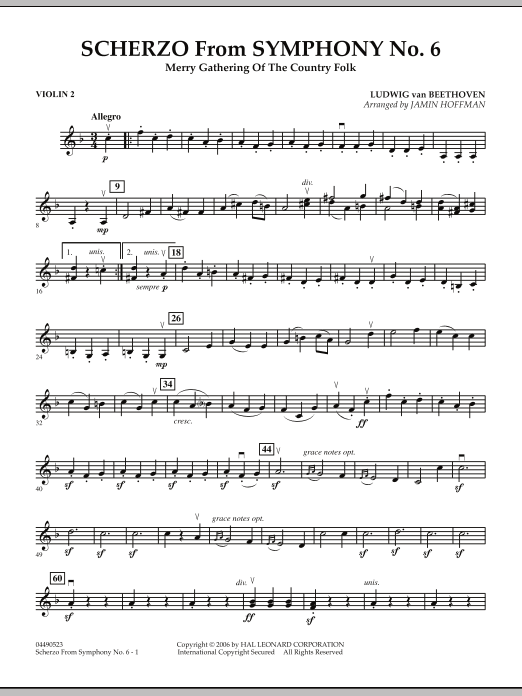Jamin Hoffman Scherzo (from Symphony No. 6) - Violin 2 sheet music notes and chords. Download Printable PDF.