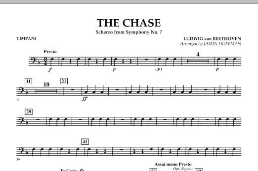 Jamin Hoffman The Chase (Scherzo from Symphony No. 7) - Timpani sheet music notes and chords. Download Printable PDF.