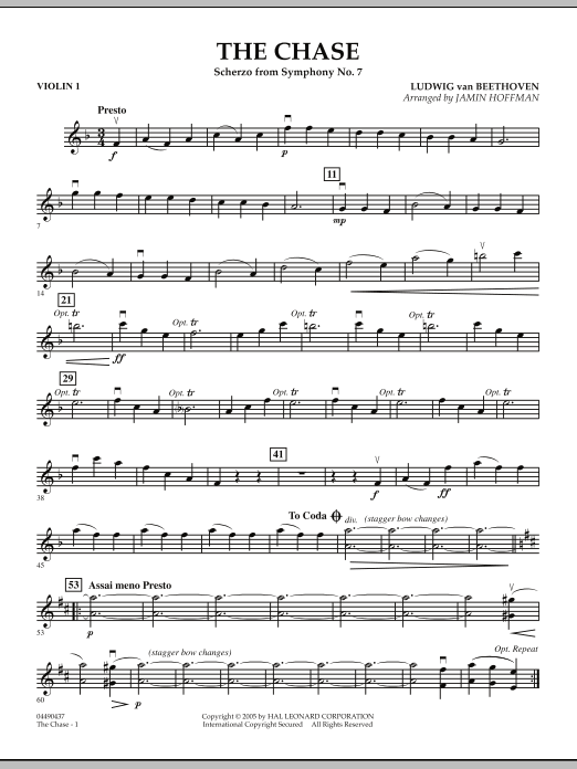Jamin Hoffman The Chase (Scherzo from Symphony No. 7) - Violin 1 sheet music notes and chords. Download Printable PDF.