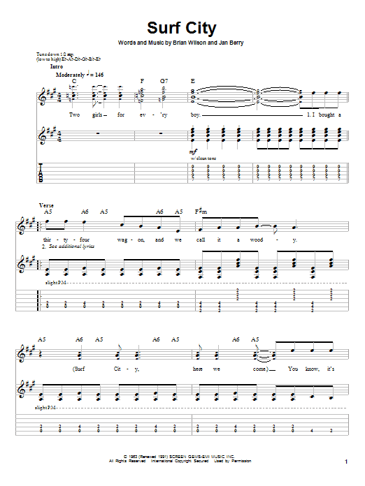 Jan & Dean Surf City sheet music notes and chords. Download Printable PDF.