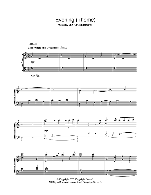 Jan A.P. Kaczmarek Evening (Theme) sheet music notes and chords. Download Printable PDF.