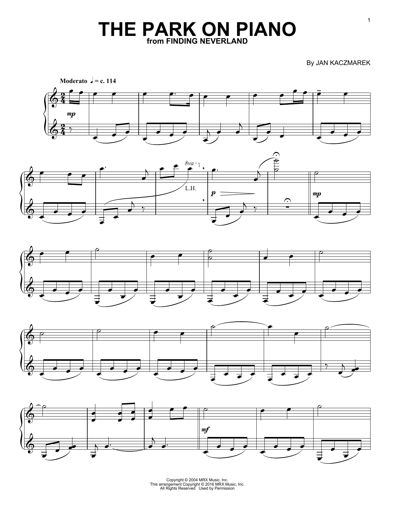 Jan A.P. Kaczmarek The Park On Piano (from Finding Neverland) sheet music notes and chords. Download Printable PDF.