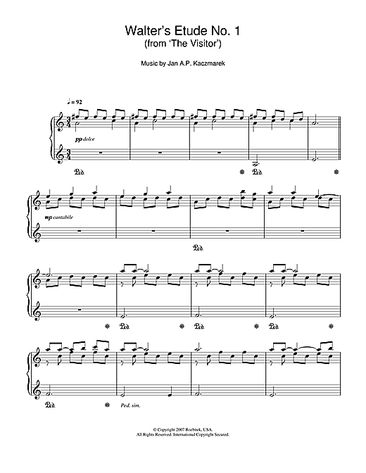 Jan A.P. Kaczmarek Walter's Etude No. 1 (from 'The Visitor') sheet music notes and chords. Download Printable PDF.