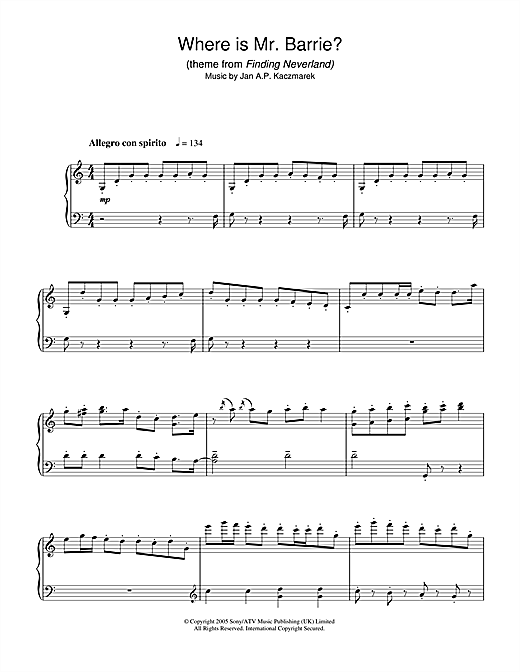 Jan A.P. Kaczmarek Where Is Mr. Barrie? (theme from Finding Neverland) sheet music notes and chords. Download Printable PDF.