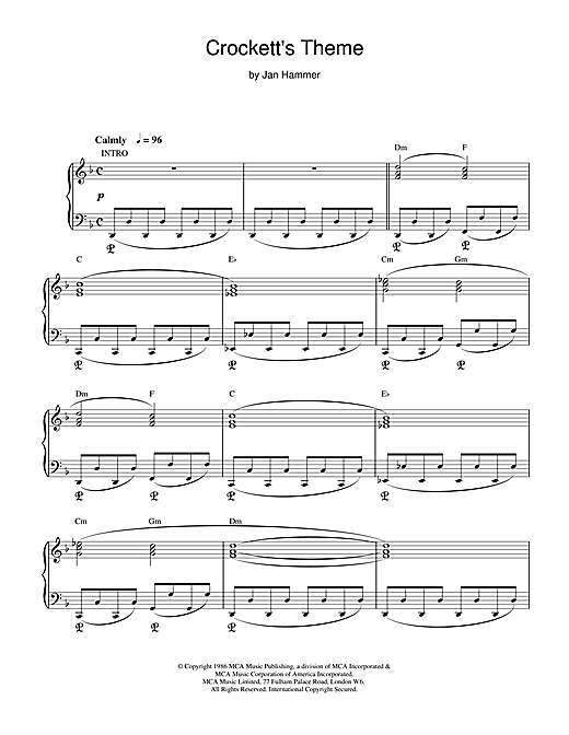 Jan Hammer Crockett's Theme (from Miami Vice) sheet music notes and chords