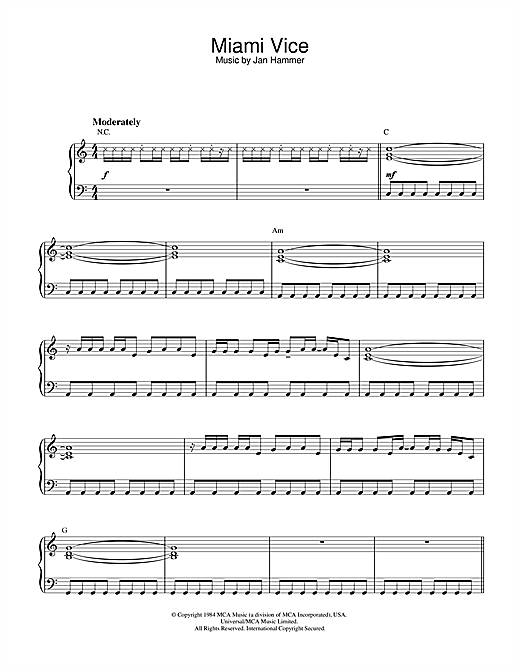 Jan Hammer Theme from Miami Vice sheet music notes and chords. Download Printable PDF.