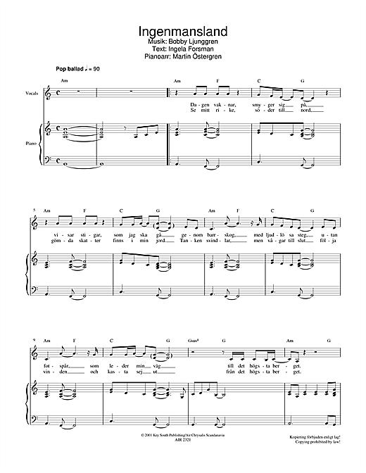 Jan Johansen Ingenmansland sheet music notes and chords