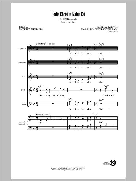 Jan Pieterszoon Sweelinck Hodie Christus Natus Est (arr. Matthew Michaels) sheet music notes and chords. Download Printable PDF.