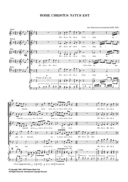 Jan Pieterszoon Sweelinck Hodie Chrustus Natus Est sheet music notes and chords. Download Printable PDF.