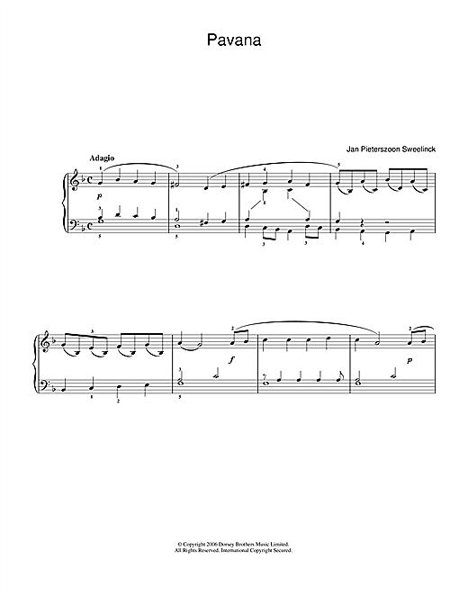 Jan Pieterszoon Sweelinck Pavana sheet music notes and chords. Download Printable PDF.