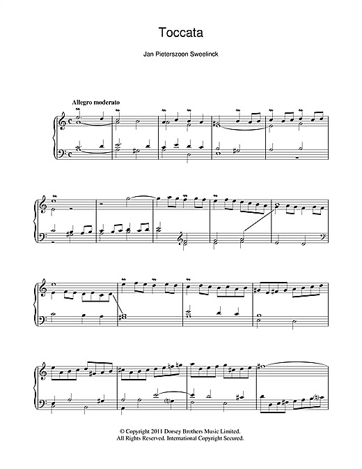 Jan Pieterszoon Sweelinck Toccata sheet music notes and chords. Download Printable PDF.