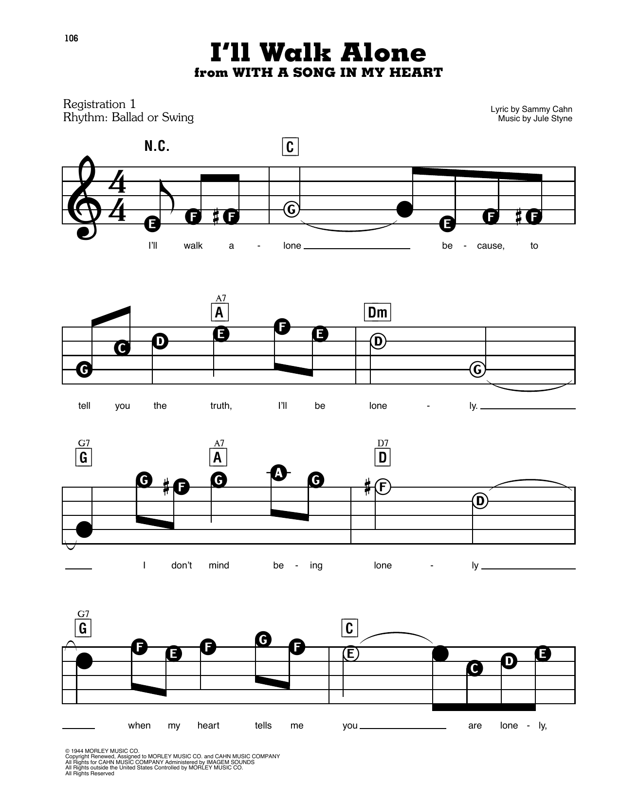 Jane Froman I'll Walk Alone (from With A Song In My Heart) sheet music notes and chords. Download Printable PDF.