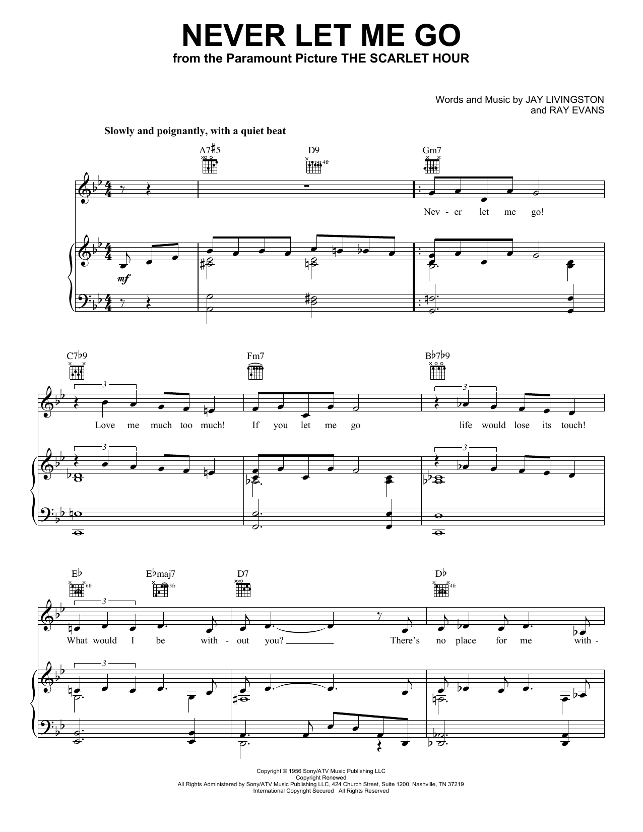 Jane Monheit Never Let Me Go sheet music notes and chords. Download Printable PDF.