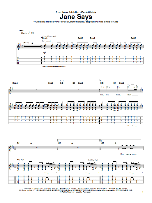 Jane's Addiction Jane Says sheet music notes and chords. Download Printable PDF.