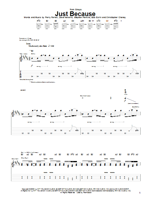 Jane's Addiction Just Because sheet music notes and chords. Download Printable PDF.