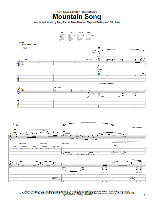 Jane's Addiction Mountain Song sheet music notes and chords. Download Printable PDF.