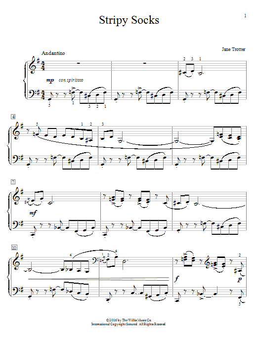 Jane Trotter Stripy Socks sheet music notes and chords. Download Printable PDF.