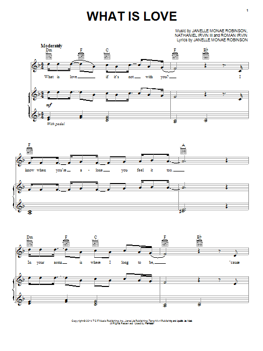 Janelle Monáe What Is Love sheet music notes and chords. Download Printable PDF.