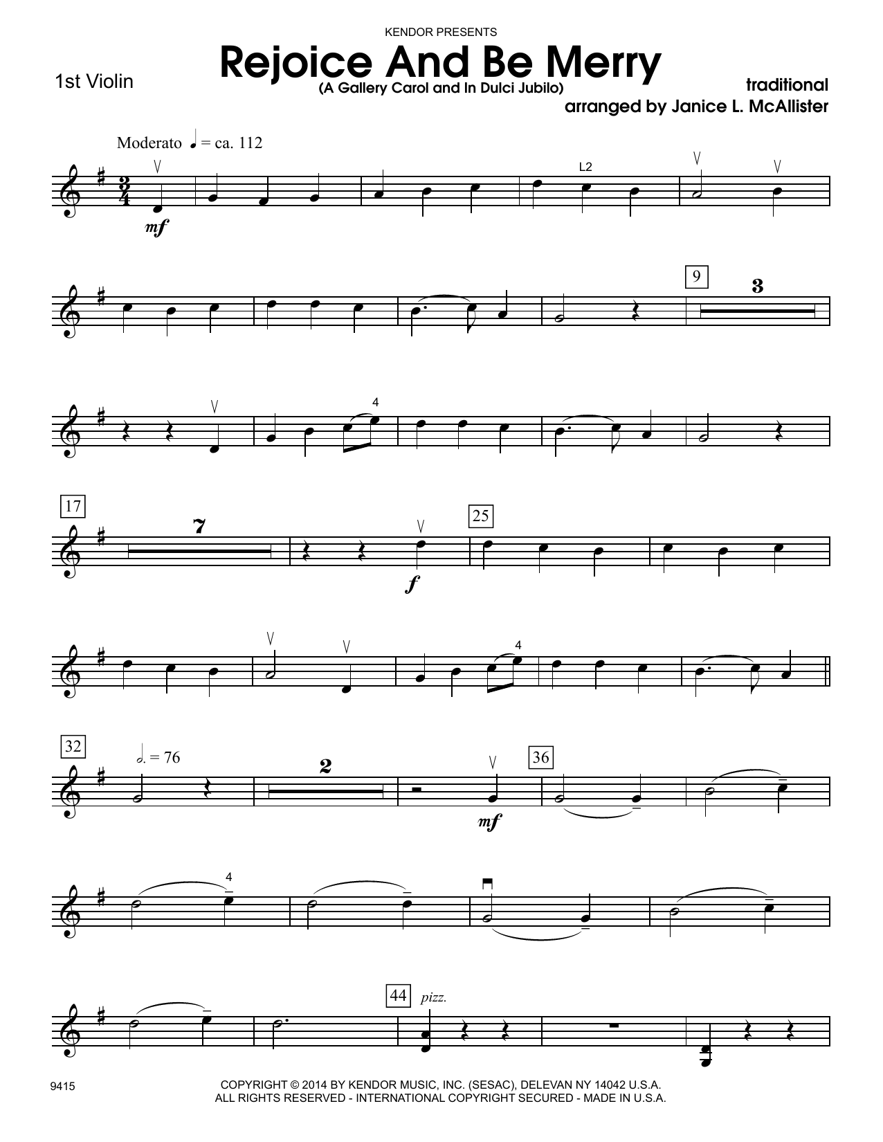 Janice L. McAllister Rejoice And Be Merry (A Gallery Carol and In Dulci Jubilo) - 1st Violin sheet music notes and chords. Download Printable PDF.