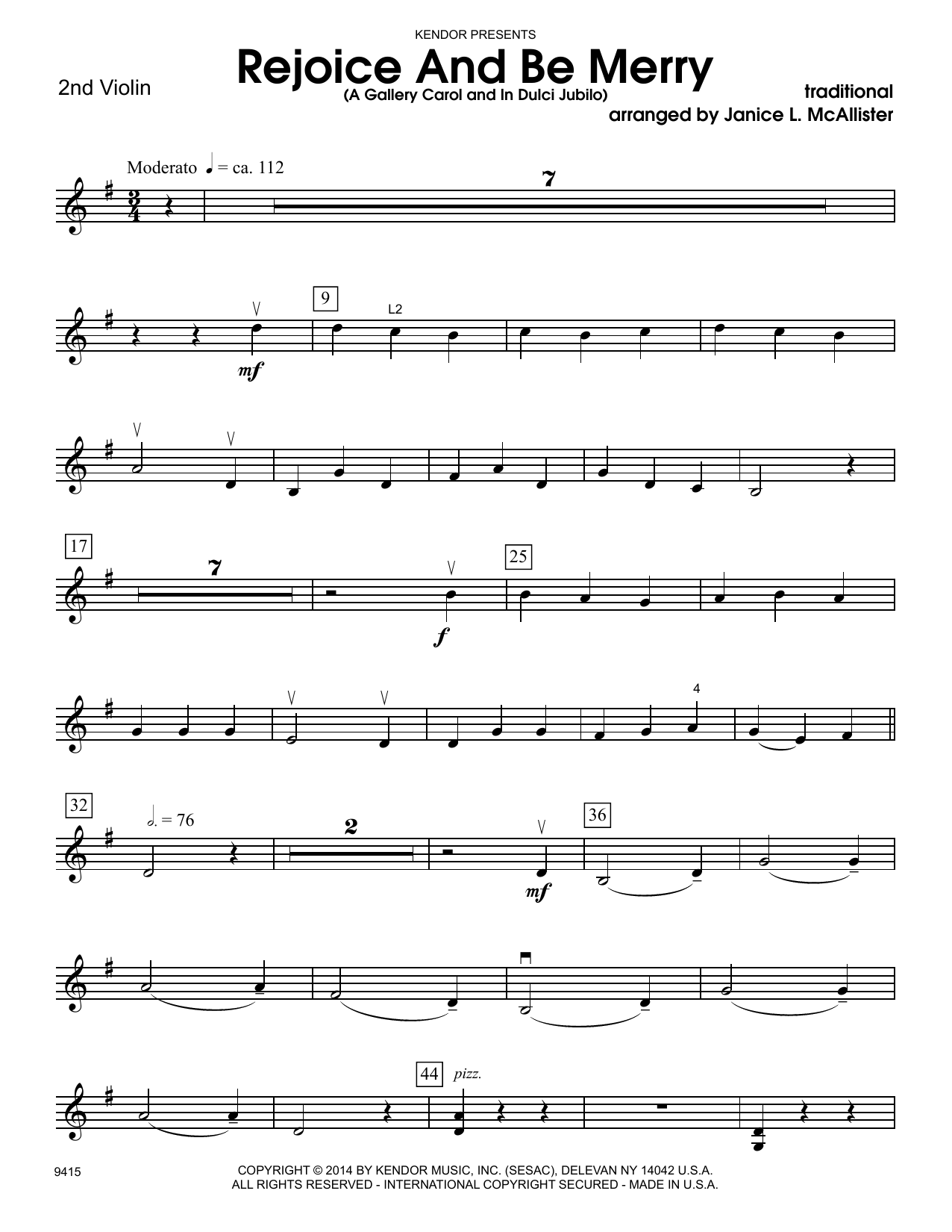 Janice L. McAllister Rejoice And Be Merry (A Gallery Carol and In Dulci Jubilo) - 2nd Violin sheet music notes and chords. Download Printable PDF.