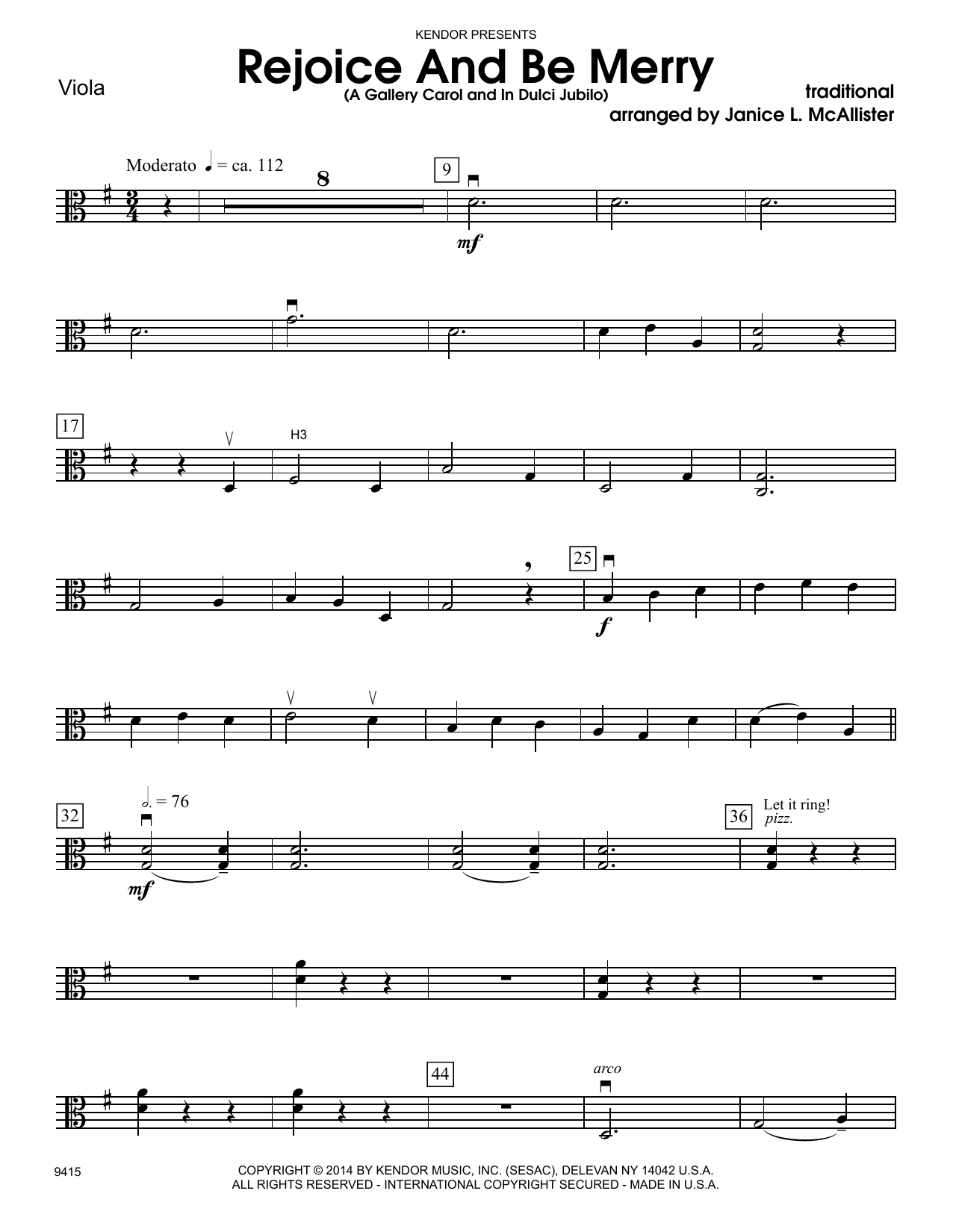Janice L. McAllister Rejoice And Be Merry (A Gallery Carol and In Dulci Jubilo) - Viola sheet music notes and chords. Download Printable PDF.