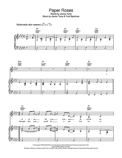 Janice Torre Paper Roses sheet music notes and chords. Download Printable PDF.