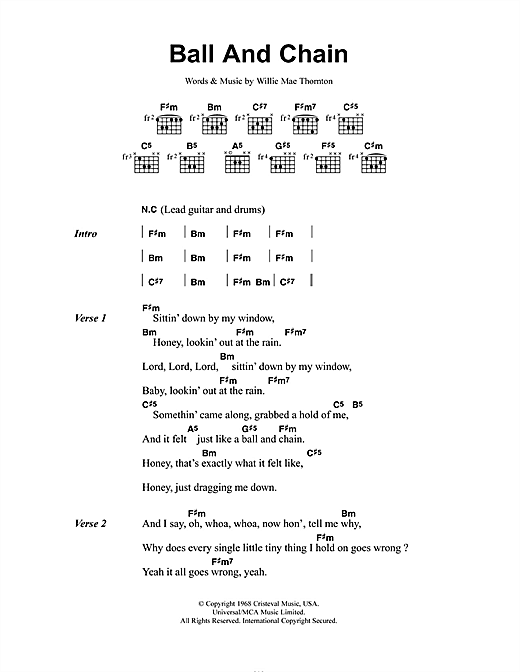 Janis Joplin Ball And Chain sheet music notes and chords. Download Printable PDF.