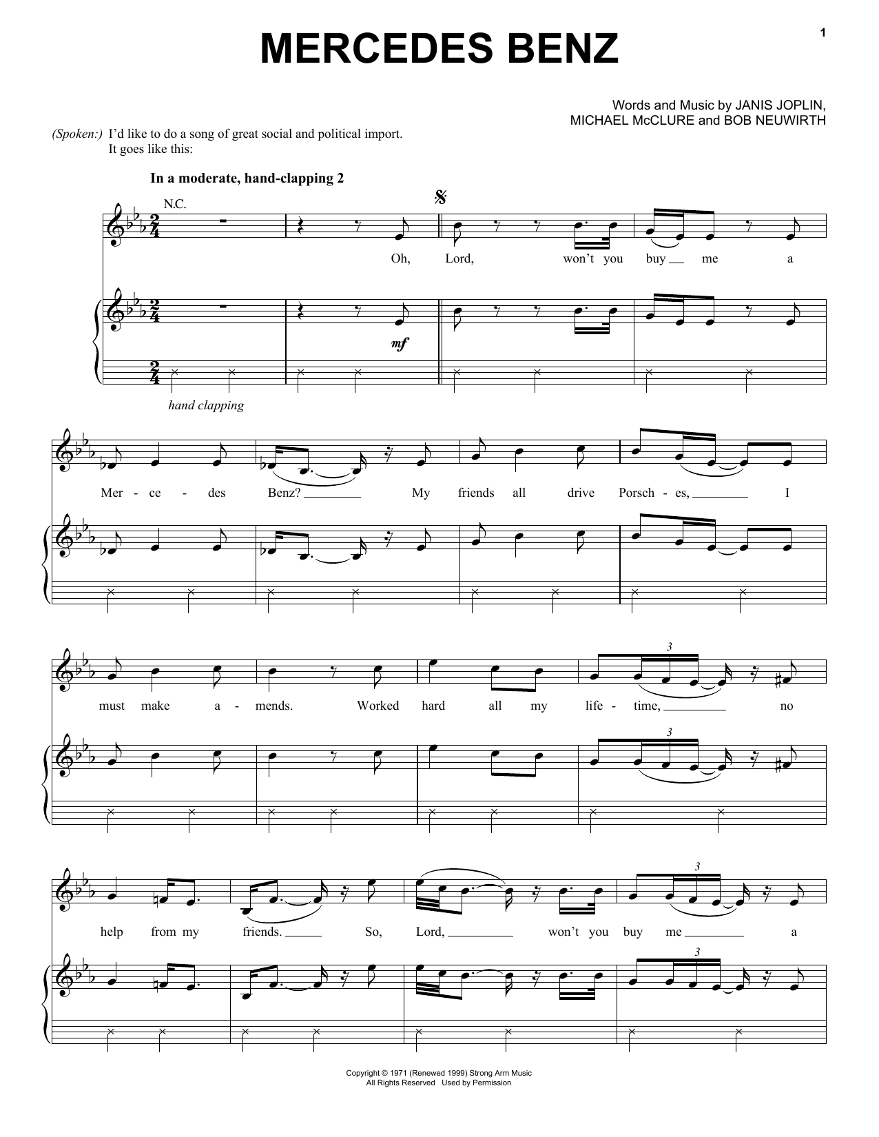 Janis Joplin Mercedes Benz (from the musical A Night With Janis Joplin) sheet music notes and chords. Download Printable PDF.
