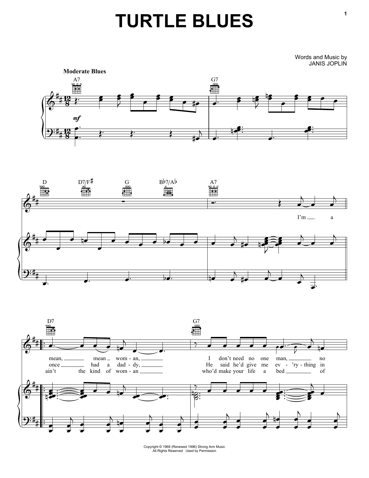Janis Joplin Turtle Blues (from the musical A Night With Janis Joplin) sheet music notes and chords. Download Printable PDF.
