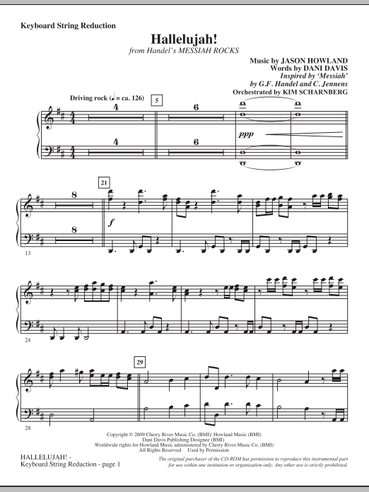 Jason Howland Hallelujah! (from Messiah Rocks) - Keyboard String Reduction sheet music notes and chords. Download Printable PDF.
