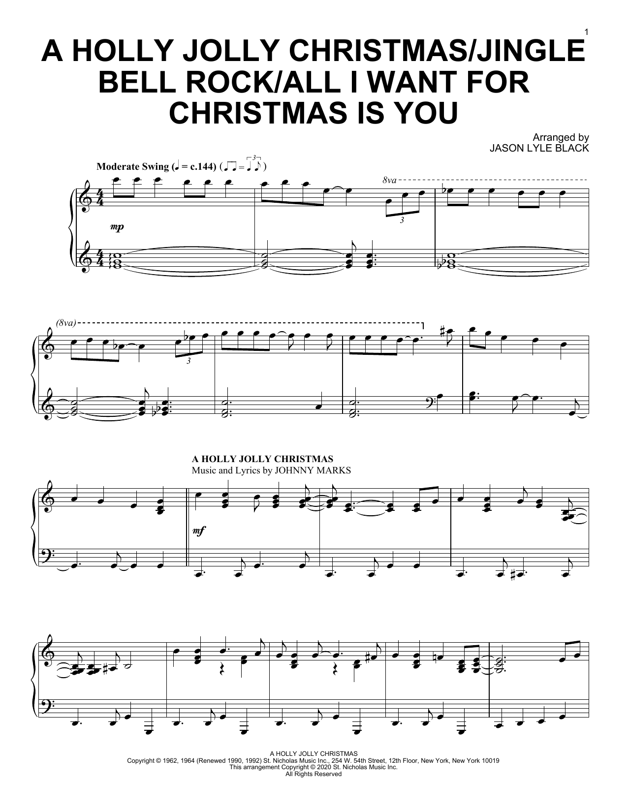 Jason Lyle Black A Holly Jolly Christmas/Jingle Bell Rock/All I Want For Christmas Is You sheet music notes and chords. Download Printable PDF.