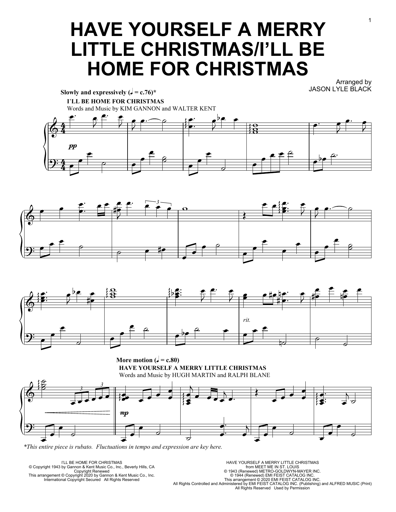 Jason Lyle Black Have Yourself A Merry Little Christmas/I'll Be Home For Christmas sheet music notes and chords. Download Printable PDF.