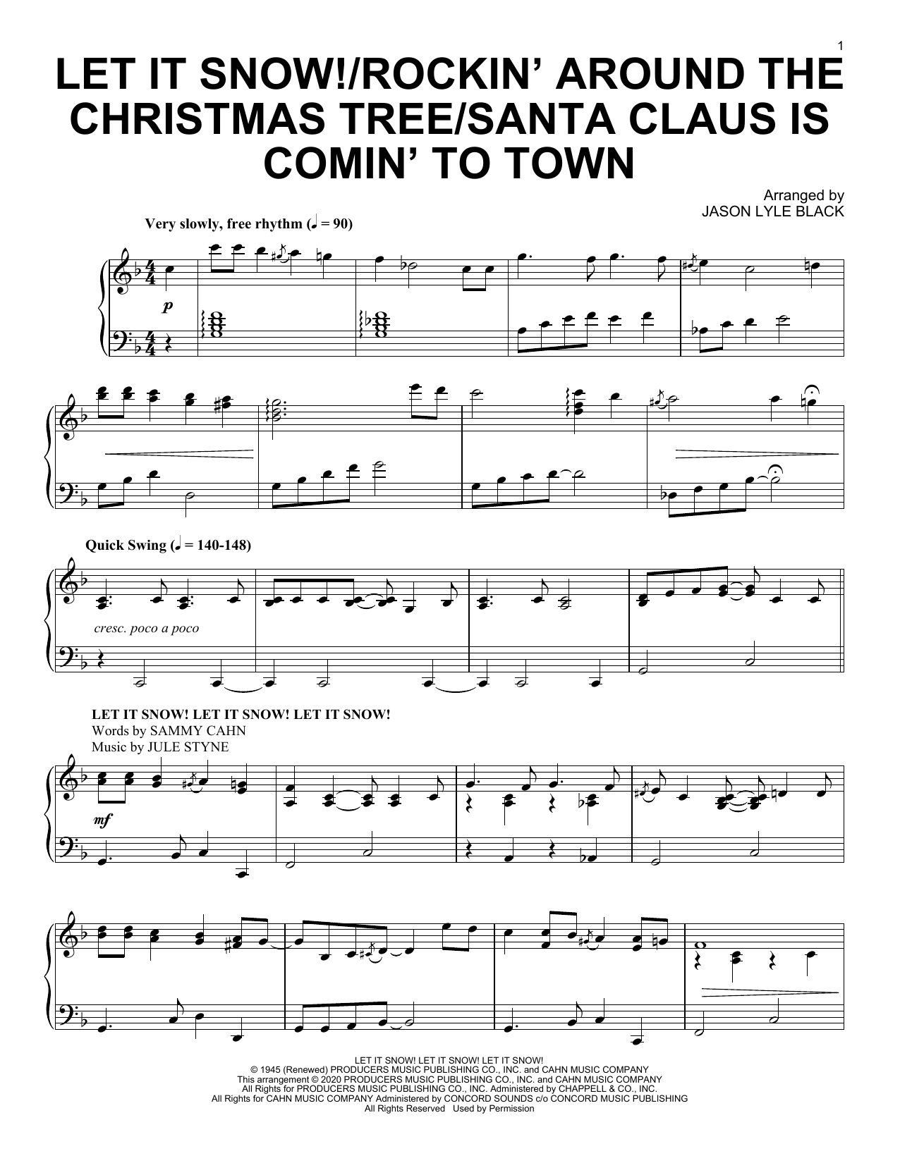 Jason Lyle Black Let It Snow!/Rockin' Around the Christmas Tree/Santa Claus Is Comin' To Town sheet music notes and chords. Download Printable PDF.