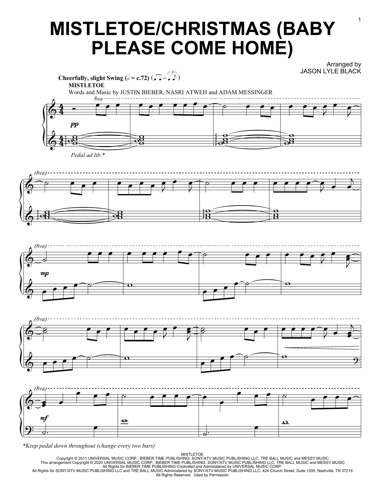 Jason Lyle Black Mistletoe/Christmas (Baby Please Come Home) sheet music notes and chords. Download Printable PDF.