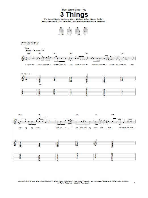 Jason Mraz 3 Things sheet music notes and chords