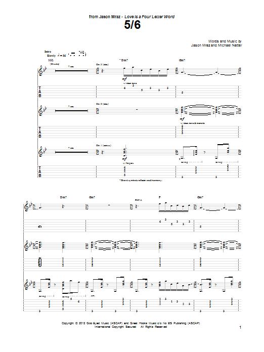 Jason Mraz 5/6 sheet music notes and chords. Download Printable PDF.
