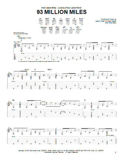 Jason Mraz 93 Million Miles sheet music notes and chords. Download Printable PDF.