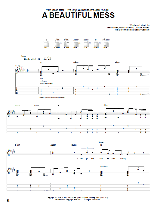 Jason Mraz A Beautiful Mess sheet music notes and chords. Download Printable PDF.