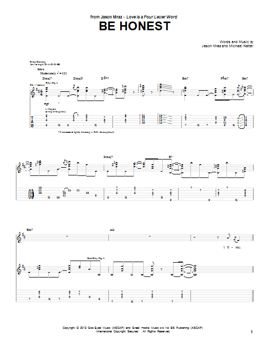 Jason Mraz Be Honest sheet music notes and chords. Download Printable PDF.
