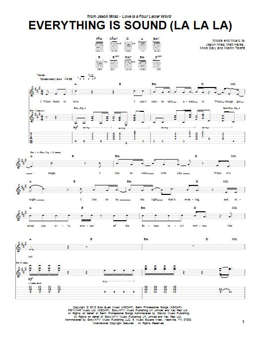 Jason Mraz Everything Is Sound (La La La) sheet music notes and chords. Download Printable PDF.